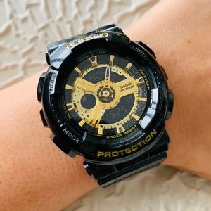 Casio Baby-G Black And Gold Watch BA110-1A